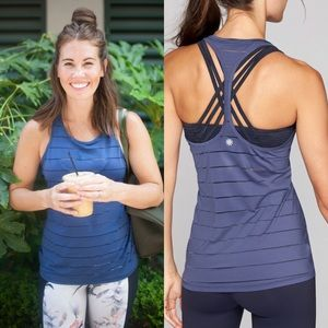 b0bccfae59 Athleta Tops | Stripe Mesh High Neck Chi Tank | Poshmark